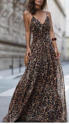 2019 Fashion Sexy Dress Leopard V Neck Spaghetti Strap Maxi dresses Women Summer Chiffon Beach Long Dress Vestidos robe femme Leopard Print Outfits, Leopard Dress, Leopard Prints, Leopard Print Fabric, Leopard Print Skirt, Short Beach Dresses, Sexy Dresses, Casual Dresses, Flowy Dresses