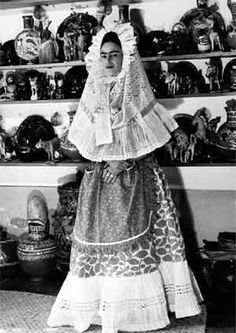 Kahlo wearing a Tehuana headdress.