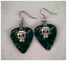 "Handmade skull earrings, guitar picks, dark teal, teen, woman, rock, unique, music, unusual, classy, 2"" Silver skull guitar pick earrings by FullCircleTreasures on Etsy"