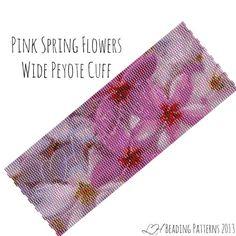 Bracelet Pattern Pink Spring Flowers Wide von LHbeadingpatterns