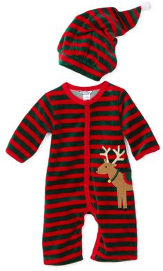 http://www.favouritebabyshop.com/clothing-and-accessories/baby-christmas-clothes/baby-christmas-clothes/ : Baby-Boys Newborn Velour Romper And Hat Set