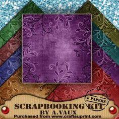 Swirl Edge Vintage Tea 8 Scrapbooking Papers Kit on Craftsuprint - Add To Basket!