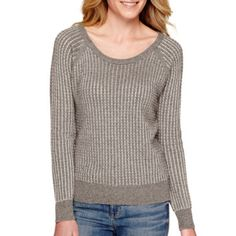 a.n.a® Long-Sleeve Two-Tone Sweater - JCPenney
