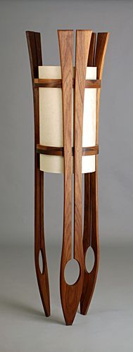 Wooden floor lamps: Buy a beautiful wood floor lamp handmade of wood by Kyle Dallman. Wooden Floor Lamps, Wooden Lamp, Wooden Flooring, Decorative Floor Lamps, Wooden Furniture, Cool Furniture, Furniture Design, Office Furniture, Furniture Layout