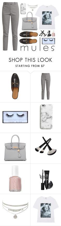 """Gray scale"" by lanagur on Polyvore featuring мода, Gucci, Altuzarra, Huda Beauty, Harper & Blake, Hermès, Essie, Kenzo, pants и Tshirt"