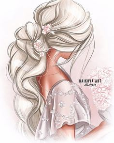 Fashion Design Drawings, Fashion Sketches, Art Sketches, Mode Poster, Illustration Mode, Illustrations, Fashion Illustration Dresses, Cute Girl Drawing, Girly Drawings