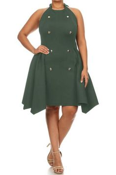 404a5a6d15904 Thick Flare Button Down Sleeveless Plus Size Dress. Jaibird210 · plussizefix