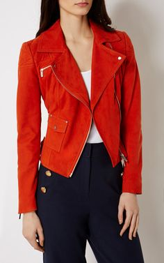 From bombers to macs to puffers, you'll discover coats for every occasion at Karen Millen. Red Suede Jacket, Outerwear Women, Karen Millen, Leather Jackets, Awesome, Amazing, Sick, Biker, Jackets For Women