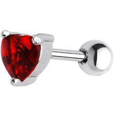 16 Gauge 5mm Red CZ Heart Cartilage Tragus Earring | Body Candy Body Jewelry