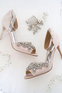 Romantic Bridal Accessories. Badgley Mischka pink wedding shoes 51f525107ed1