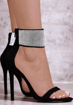 876ea514d05ddc Black Round Toe Stiletto Rhinestone Fashion High-Heeled Sandals