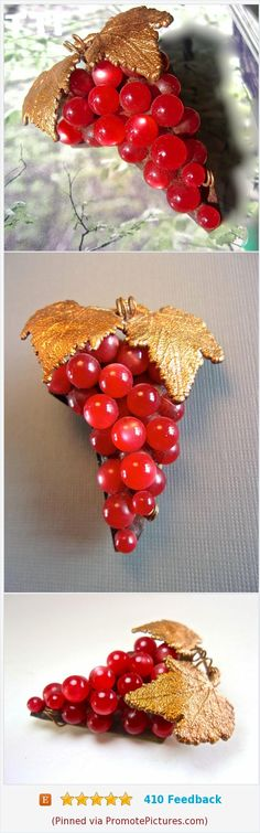 CZECH Red Glass Moonglow Grape Brooch, Art Deco, Brass Leaves, Vintage https://www.etsy.com/renaissancefair/listing/526463753/czech-red-glass-moonglow-grape-brooch?ref=listings_manager_grid  (Pinned using https://PromotePictures.com)