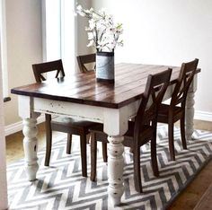 The chevron rug totally makes this dining table