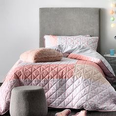Addison Quilted Pale Pink Quilt Cover Set
