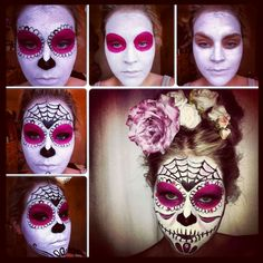 A quick & easy tutorial on how to do a Sugar Skull face paint from Stephanie Makeup Artist Loading. A quick & easy tutorial on how to do a Sugar Skull face paint from Stephanie Makeup Artist Maquillaje Halloween 2018, Maquillage Halloween Simple, Sugar Skull Halloween, Sugar Skull Costume, Easy Halloween, Halloween Face, Vintage Halloween, Halloween Costumes, Hallowen Schminke