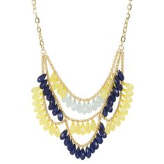 Kirra Tate Drape Yellow & Navy Necklace