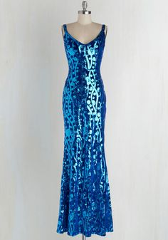 Keep it Current Dress - Blue, Sequins, Special Occasion, Prom, Holiday Party, Maxi, Spaghetti Straps, V Neck, Long, Knit, 40s, Homecoming, Velvet
