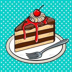 Buy Slice of Cake on Plate Pop Art Vector Illustration by AlexanderPokusay on GraphicRiver. Slice of cake on plate pop art hand drawn vector illustration. Pop Art Illustration, Food Illustrations, Pop Art Essen, Pop Art Food, Pop Art Images, Free Images, Desenho Pop Art, Cake Logo Design, Cake Vector
