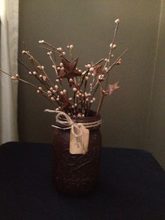 Primitive Grunged Mason Jar by 2DivineTwines on Etsy, $6.00