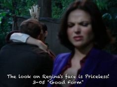 "3-05 ""Good Form"" the look on Regina's face is Priceless! Charming and Snow kissing!"