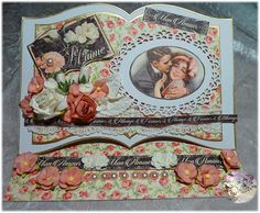 valentine easel open book card with Graphic45 'Mon Amour' paper and Wildorchicrafts flowers made by Shabby Chic E.