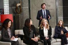Still of Patrick Dempsey, Jessica Capshaw, Sandra Oh, Ellen Pompeo and Sara Ramirez in Grey's Anatomy