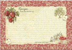 recipe cards to print   Uploaded to Pinterest