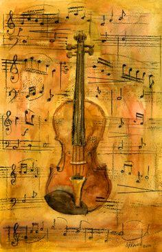 Watercolour wash of Violin