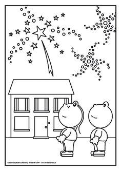Frokkie en Lola kijken naar vuurwerk Er is een nieuw jaar aangebroken en dat wordt gevierd. Kijk een naar al die mooie kleuren van het vuurwerk. Wauw!!!