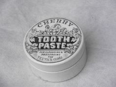 STUNNING PICTORIAL CHERRY TOOTH PASTE POT LID AND BASE