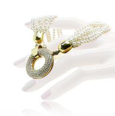 Necklace with three different Neckbands, green red and beautiful pearls  Collier, Halskette mit 3,770ct Brillanten in Gold mit Perlen und Seidenkordeln