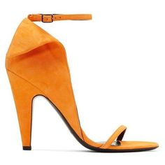 Calvin Klein 205W39NYC Orange Suede Carmin Sandals ❤ liked on Polyvore featuring shoes, sandals, foldable shoes, foldable sandals, suede leather shoes, round toe sandals and orange shoes