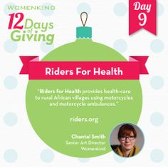 #RidersforHealth helps improve access to health care through reliable transportation for millions of people in rural Africa. #12DaysofGiving