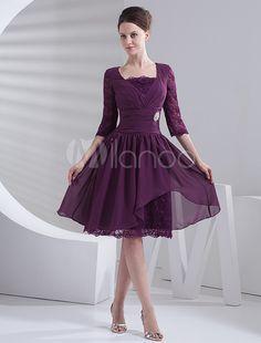 [73,08€ - -45%] Robe de bal en couleur de raisin de col carré et moitiés manches en mousseline de soie de longueur à genou