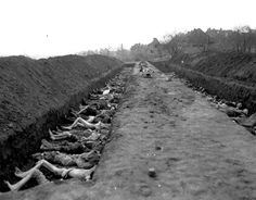 Nordhausen, Germany, 1945, A mass grave. Note how emaciated they are. Atrocity doesn't cover it. This is horrific, as were countless Nazi acts.
