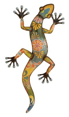 This wonderful decor from DecMode includes a updated traditional multi color finish iron gecko wall sculpture, painted floral motif. Size: x Color: Multicolor. Geckos, Metal Yard Art, Metal Art, Floral Wall, Floral Motif, Wall Sculptures, Sculpture Art, Eclectic Wall Decor, Eclectic Design