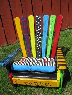 Repurpose those free pallets into a fun & colorful Adirondack chair for the garden****Follow our unique garden themed boards at www.pinterest.com/earthwormtec *****Follow us on www.facebook.com/earthwormtec for great organic gardening tips  #DIY #repurpose #garden