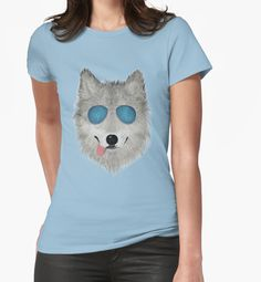 """""""Wild Animal with Blue Sun Glasses - V03"""" Womens Fitted T-Shirts by Lidra 