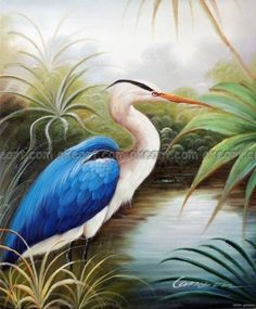 100% hand painted Blue Heron Egret Swamp Lake Bayou Bird Wetlands Oil On Canvas Painting free shipping High quality-in Painting & Calligraphy from Home & Garden on Aliexpress.com | Alibaba Group