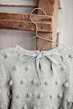 Hand Knitted Merino Wool Popcorn Sweater With Velvet Ribbon | SistersMillStore on Etsy