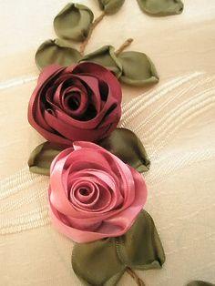 ribbon embroidery - roses by zaliana, via Flickr