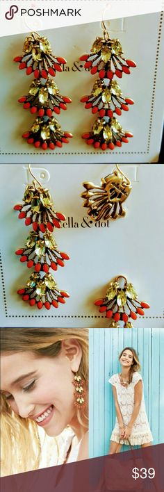 Stella and Dot Coral Cay Vintage Look Earrings Stella & Dot Coral Cay earrings. Can be worn as chandeliers or detach two bottom pieces for a simple look. New in box (included), never worn. Goes great with the matching necklace. (**this listing is for the earrings only**) Stella & Dot Jewelry Earrings