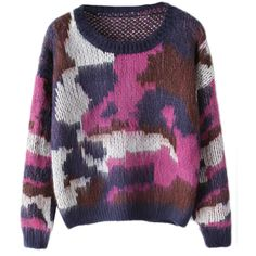 Purple Womens Camouflage Color Block Patterned Pullover Sweater ($37) ❤ liked on Polyvore featuring tops, sweaters, purple, color block tops, camouflage sweaters, camo pullover, purple top and camo print top