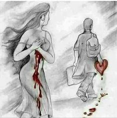 Sad Drawings, Dark Art Drawings, Art Drawings Sketches Simple, Pencil Art Drawings, Heart Drawings, Heartbroken Drawings, Romantic Drawing, Deep Drawing, Sad Art