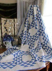 Gorgeous Antique c1920 Blue Amp White Ocean Waves Quilt 78x62 034   Vintageblessings