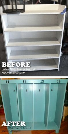 "20 Creative Furniture Hacks -- Turn an old bookshelf into a cute ""locker"" for the kids. Great for coats and backpacks!"