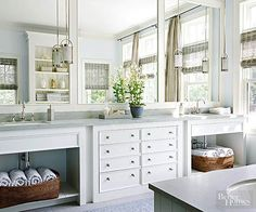 As with kitchen cabinets, you can purchase bathroom cabinetsin stock units or with semicustom options, or you can have them custom-designed and built. Stock cabinets are typically least expensive and custom the most expensive, with price ranges for each depending on the material, construction, finish, and accessories./