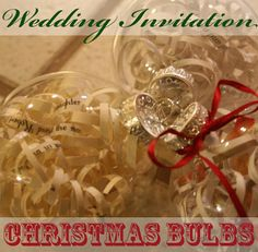 Wedding invitation Christmas bulb ornament.