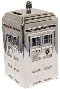 Ceramic Silver Tardis Money Bank