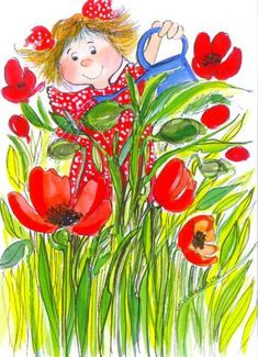 Virpi Pekkala - Hey,it's ok!We can paint the world so many colors,life is a canvas:Hope&Promise Children's Book Illustration, Whimsical Art, Cute Cartoon, Cute Art, Flower Art, Illustrators, Poppies, Tulips, Cute Pictures